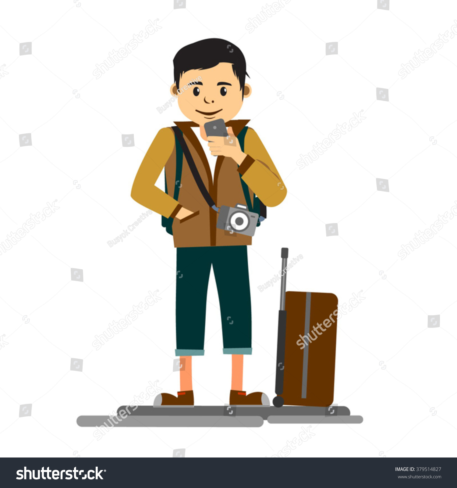 Young Handsome Man Traveler Tourist Travel Stock Vector ...