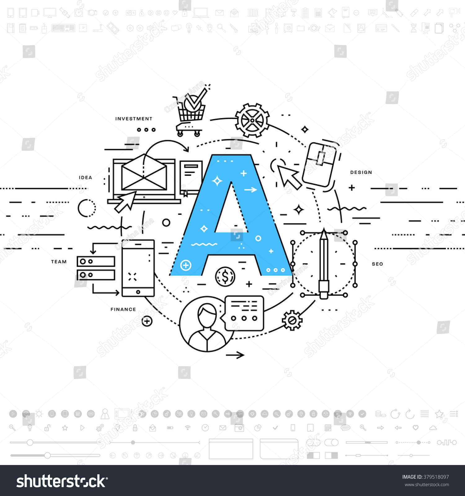Line Art Letters : Alphabet letter a flat style thin stock vector