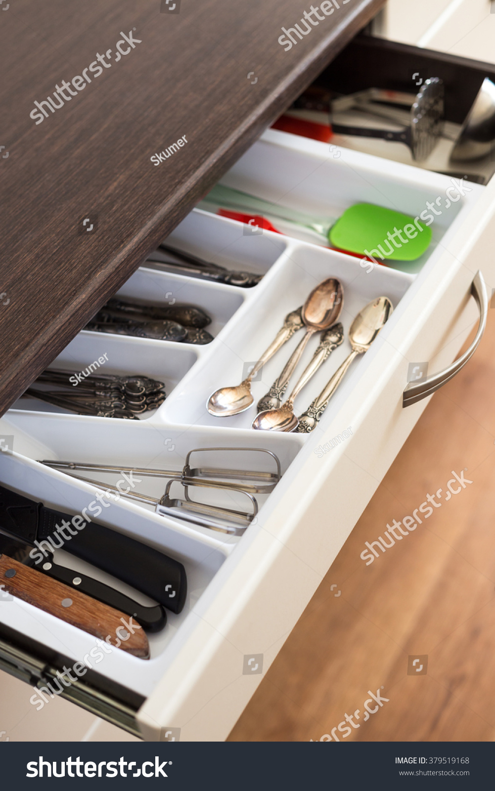 Spoons Forks And Knives In Cutlery Box Drawer Kitchen Cupboard