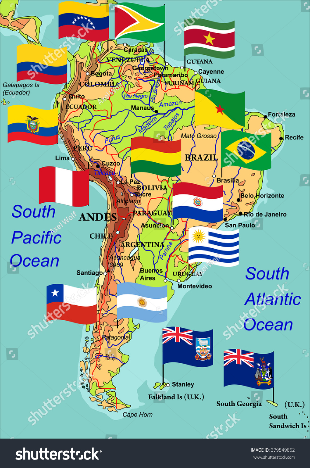 Geographic Map South America Flags States Stock Vector - South america map and flags