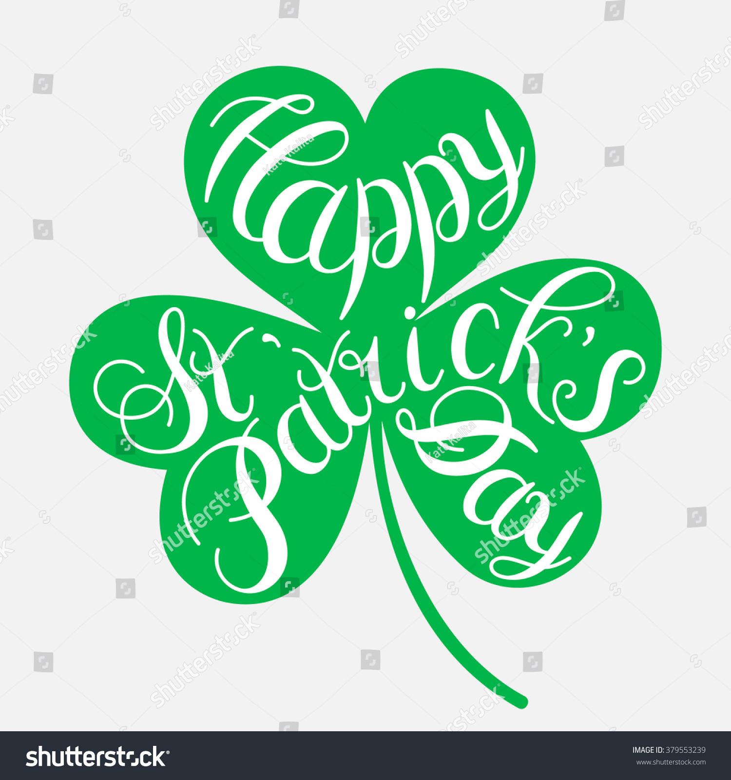 St Patricks Day Greeting Vector Illustration Happy Stock Vector