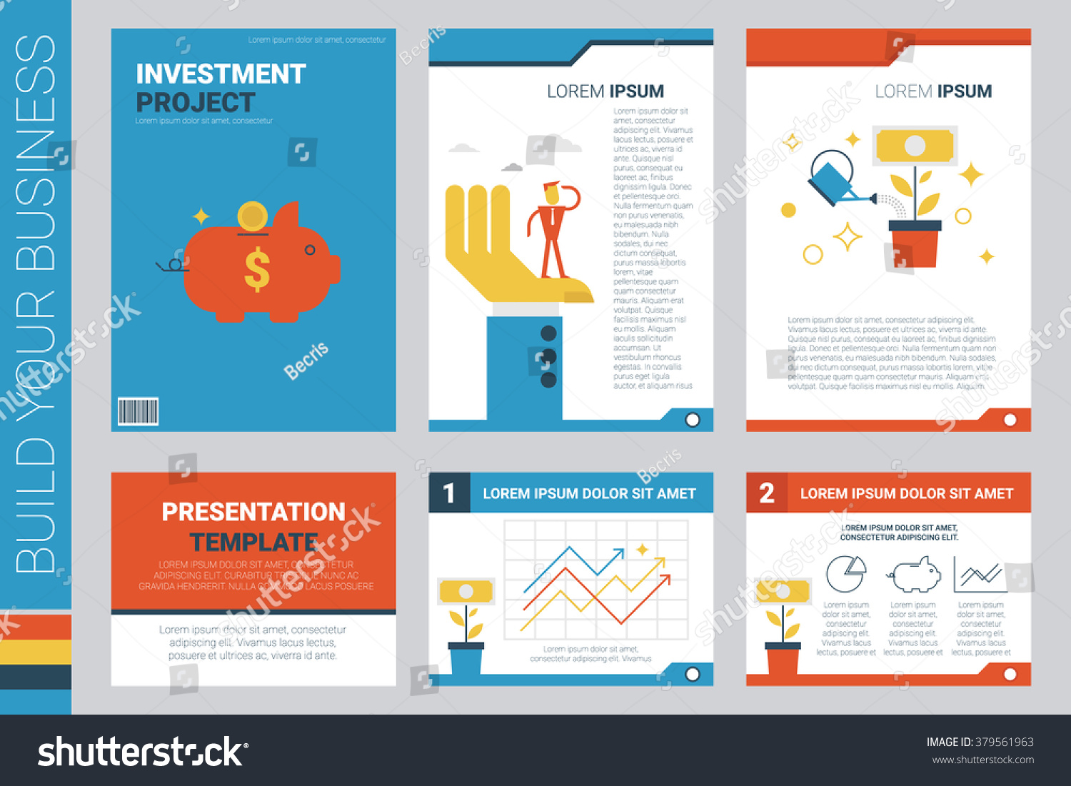 investment project book cover presentation template stock vector, Presentation templates