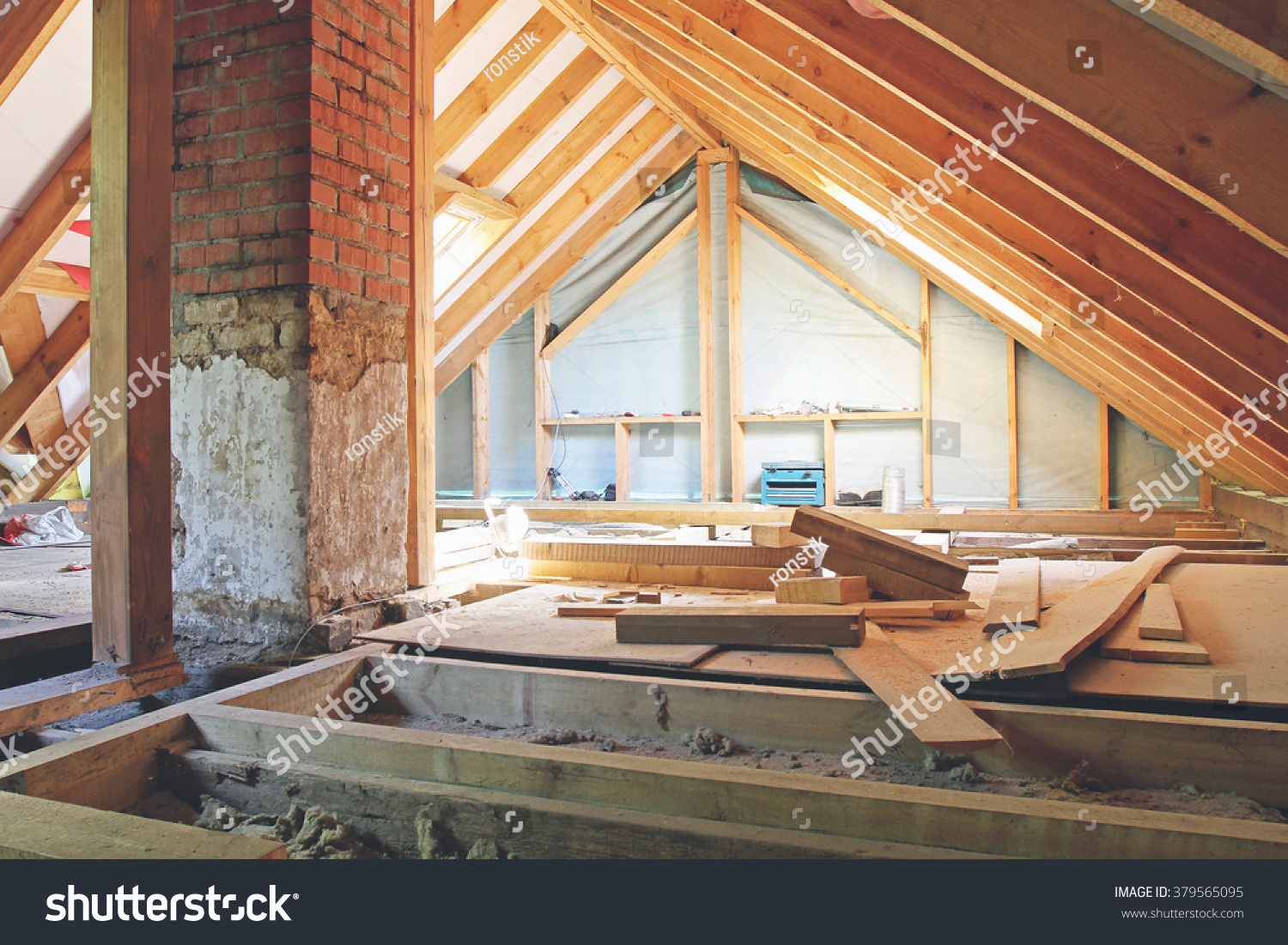 Attic House interior view house attic under construction stock photo 379565095