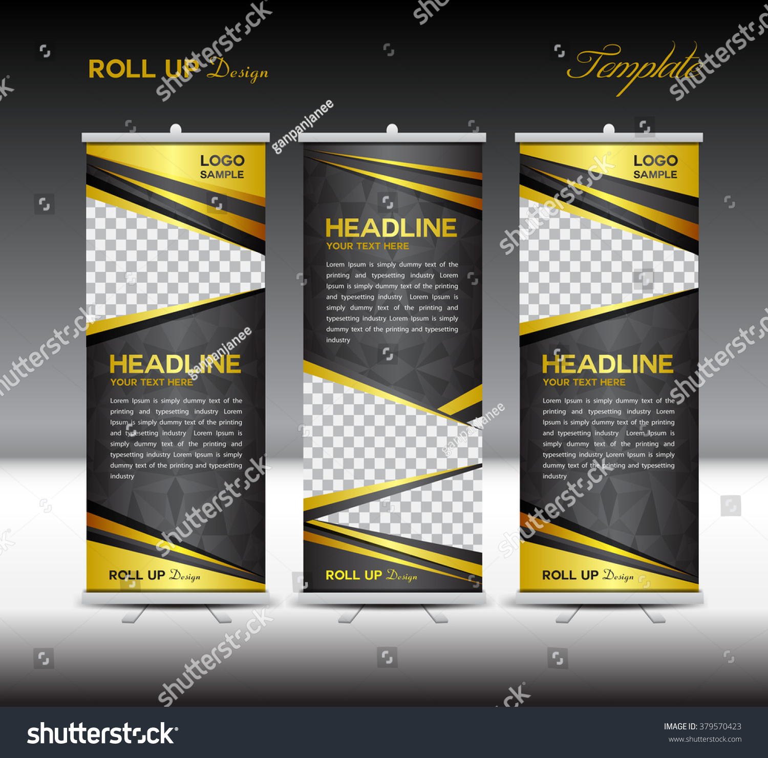 gold black roll banner template vector stock vector 379570423 gold and black roll up banner template vector illustration polygon background stand advertisement