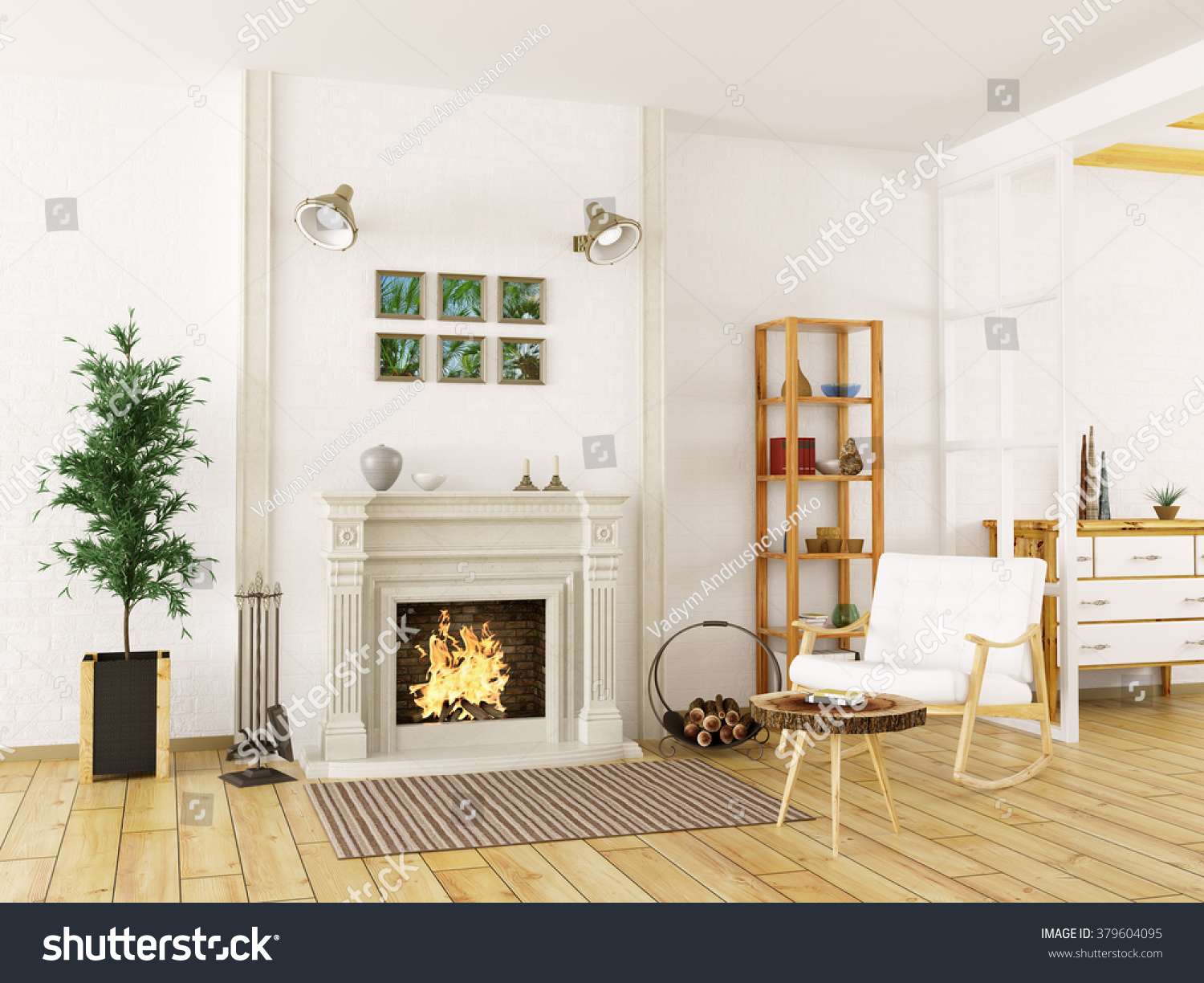 Cozy Interior Living Room Fireplace Rocking Stock Illustration ...