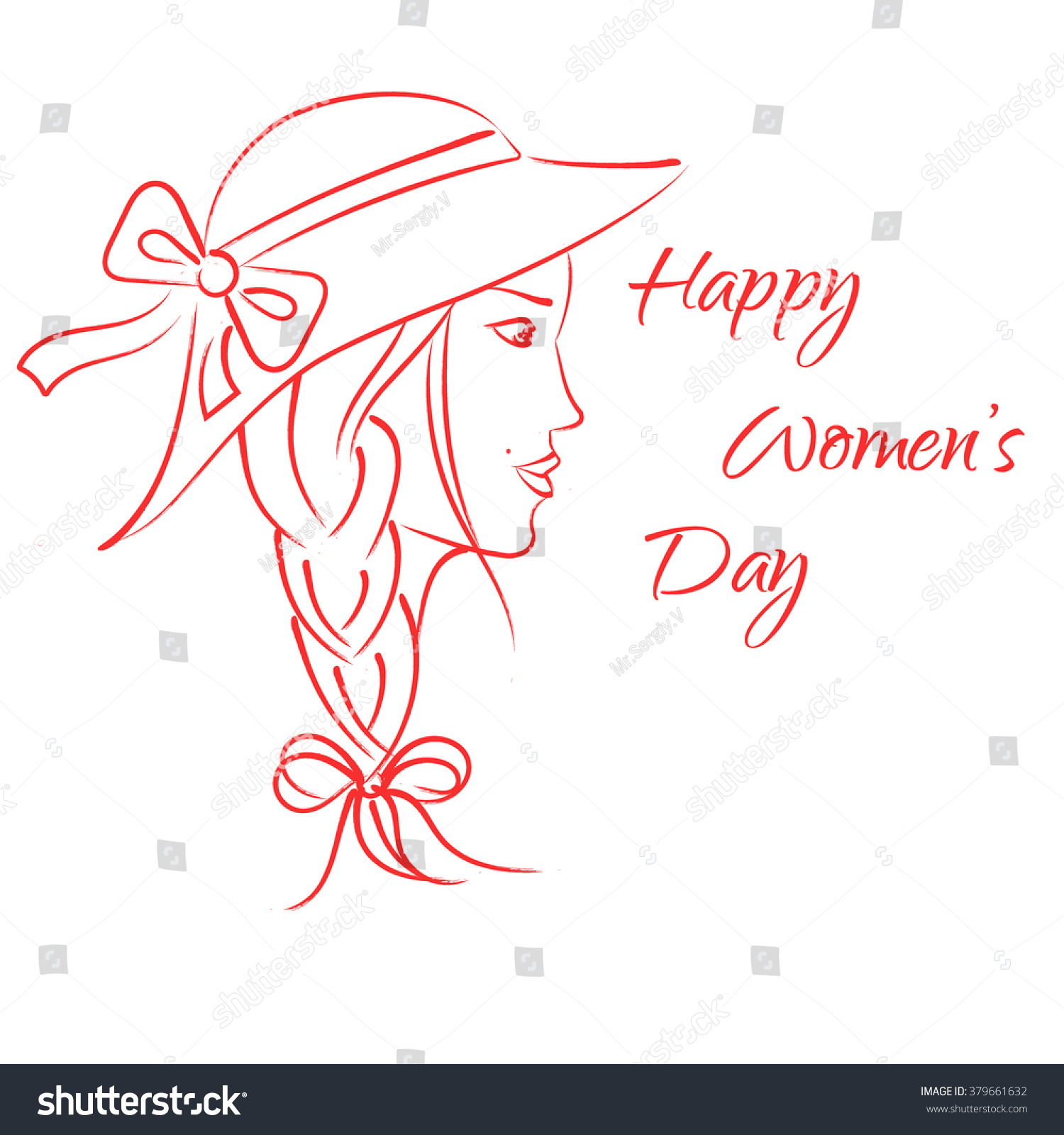 The abstract profile of the young women in vintage style happy international womens day 8 march pencil drawing red contour vector