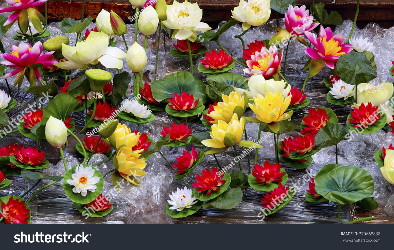 Image Plastic Lotus Flowers Artificial Lotus Stock Photo Royalty