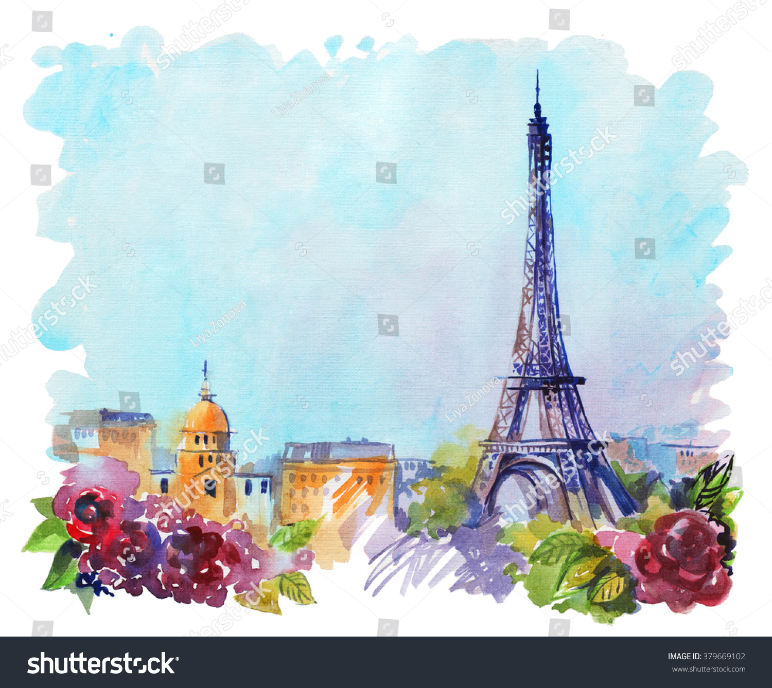 drawing by hand on wright paper beautiful background with Paris Watercolor with ink illustration with Eiffel Tower view of the city with high and many beautiful flowers