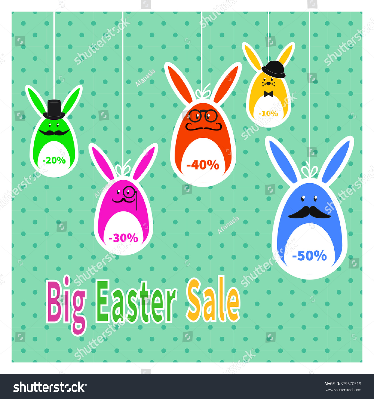 Poster design price - Easter Sale Poster With Hanging Price Rabbits Stickers On A Polka Dot Background Colorful Holiday