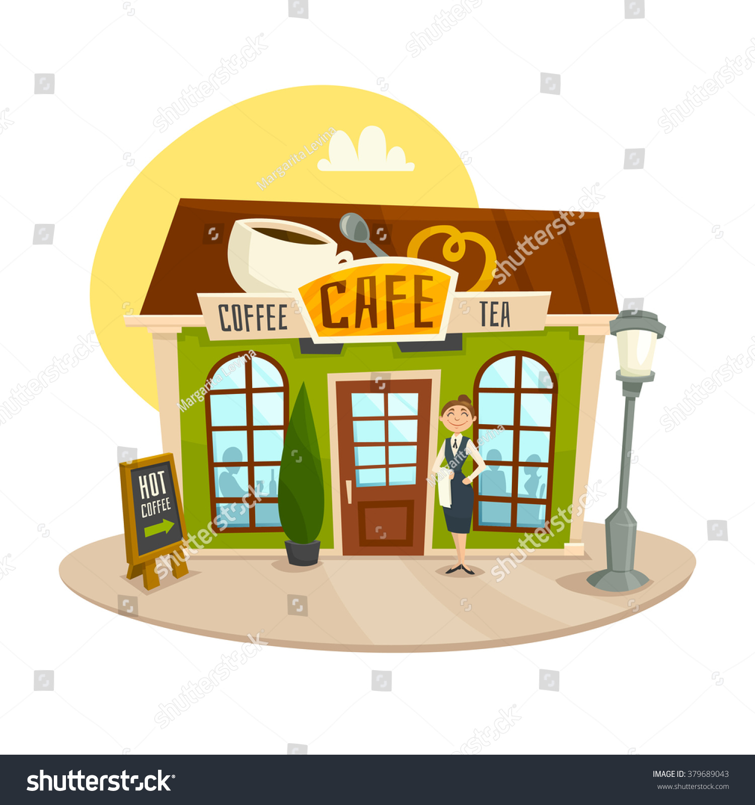 Facade restaurant business illustration perspective clip cafe graphic front vista viewpoint isolated