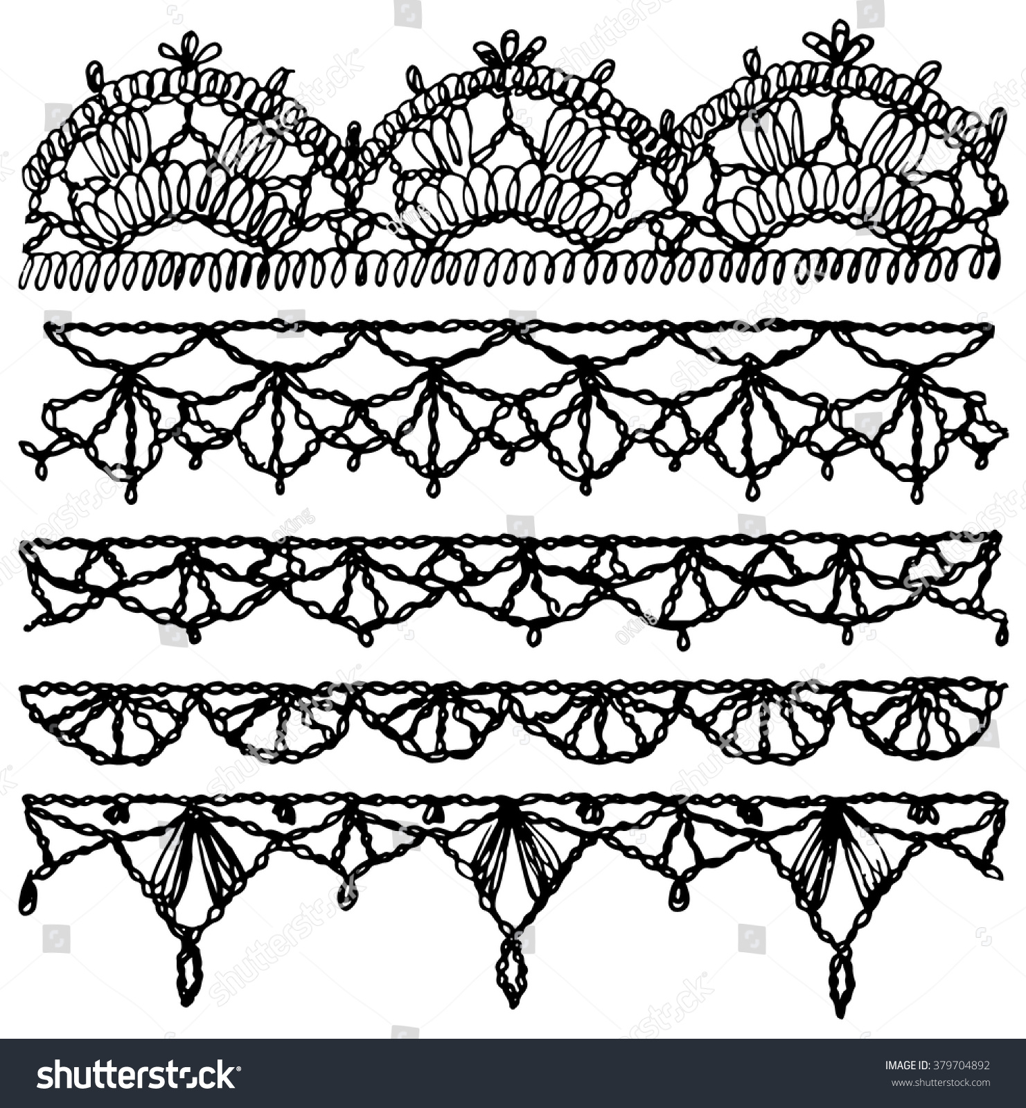 Set of isolated knitted lace borders with an openwork pattern Vector illustration