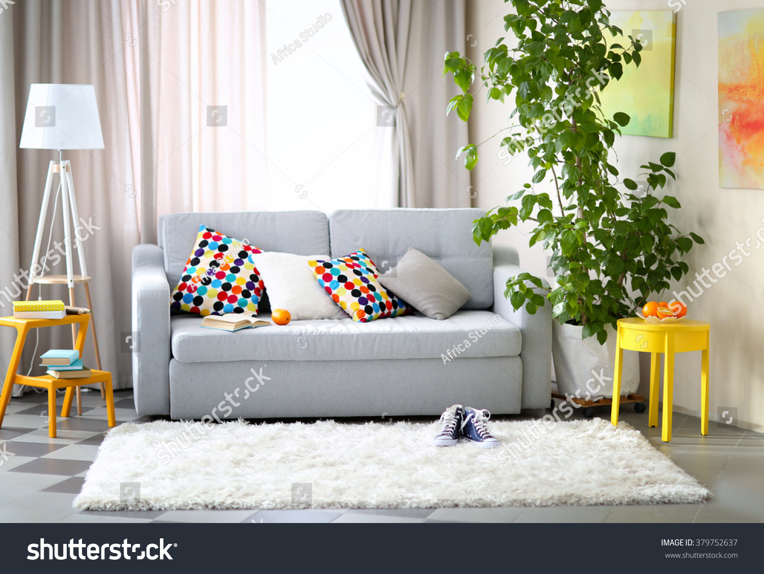 living room interior sofa lamp green stock photo 379752637 living room interior with sofa lamp and green tree