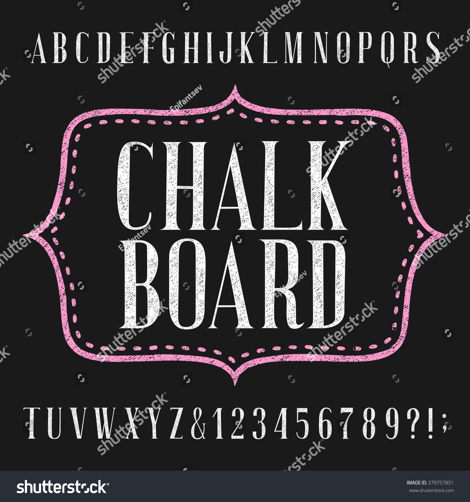 chalkboard alphabet font hand drawn letters stock vector 379757851