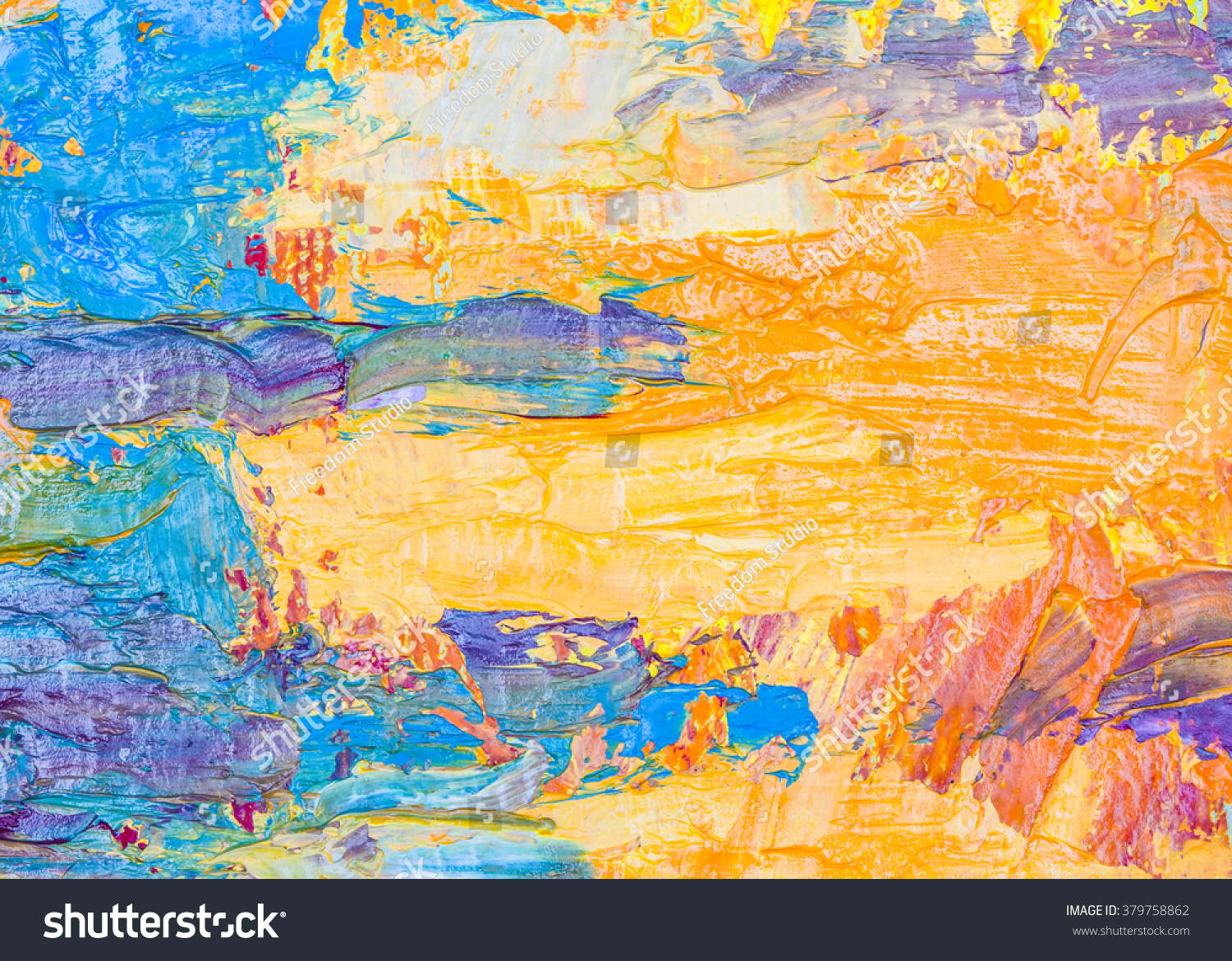 Original Colorful Abstract Oil Painting Brush Strokes Texture Background