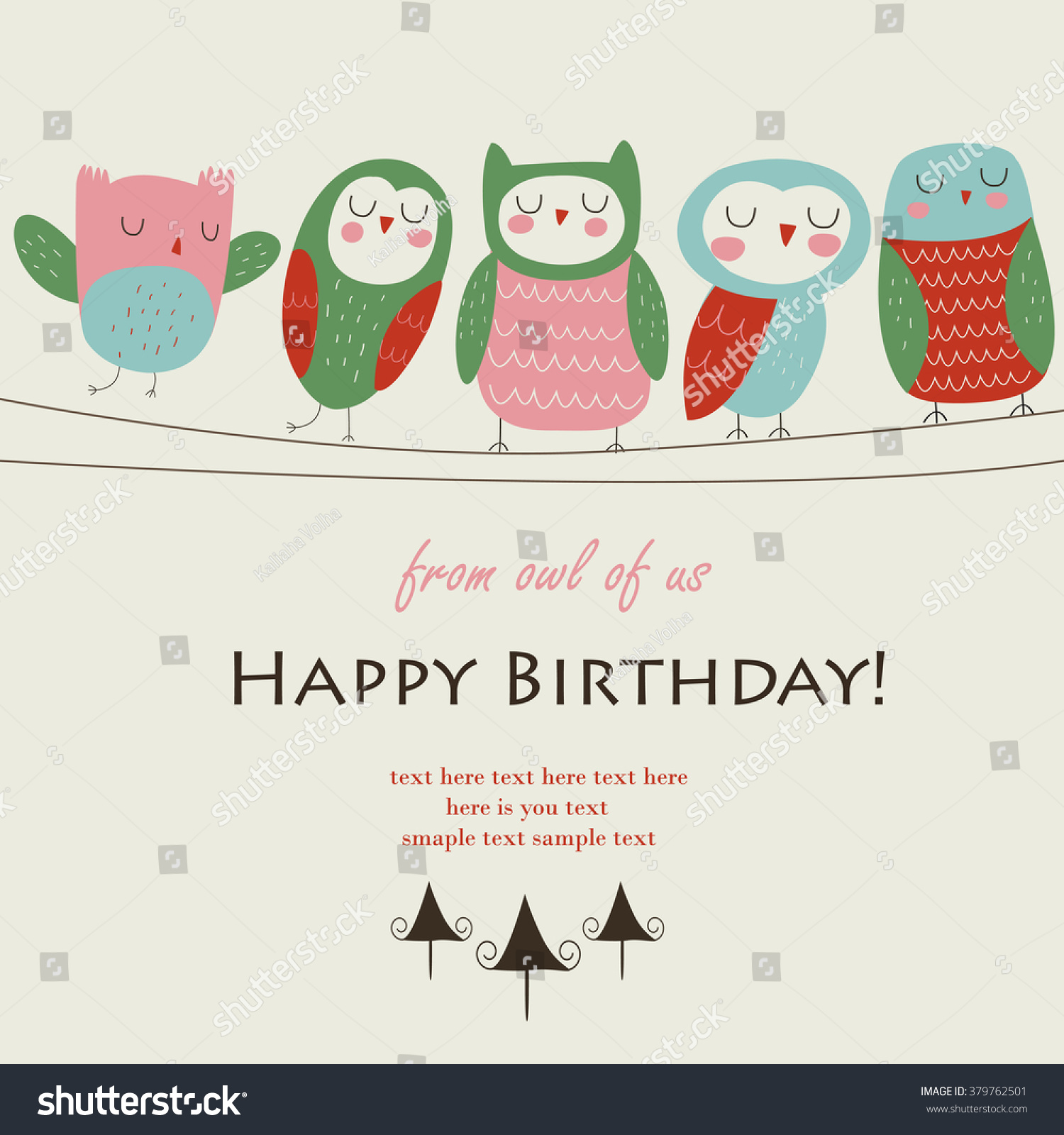 Birthday Card Cute Funny Owls Sitting Stock Vector