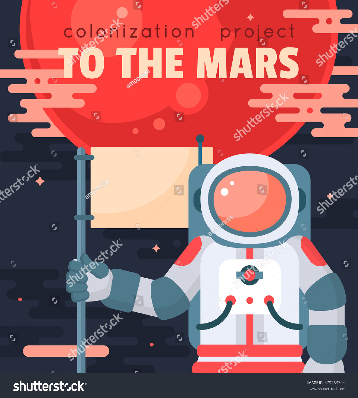 Mars colonization project poster with astronaut holding for Outer space poster design