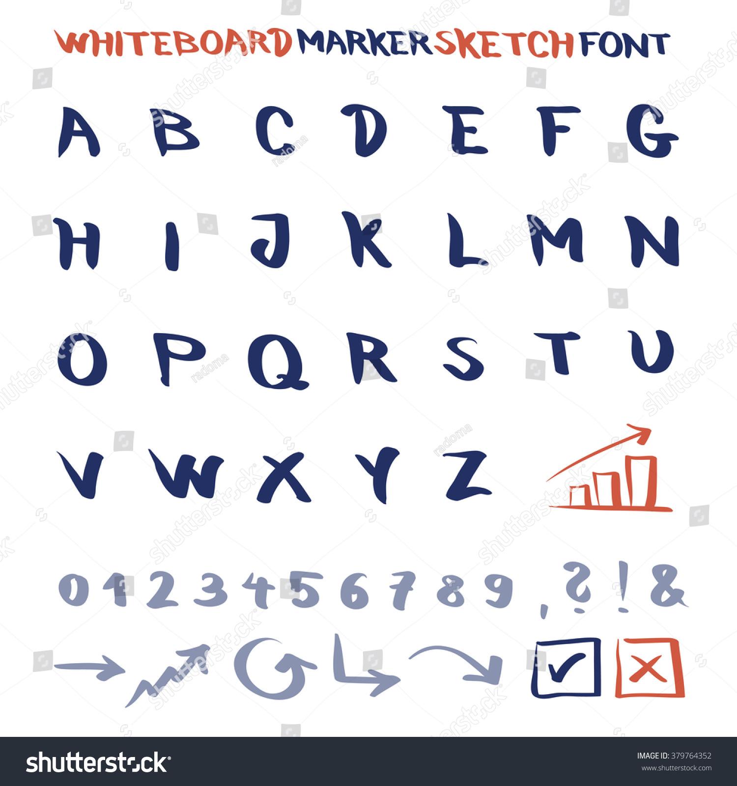 Whiteboard Marker Sketch Font Vector Alphabet Stock Vector Hd