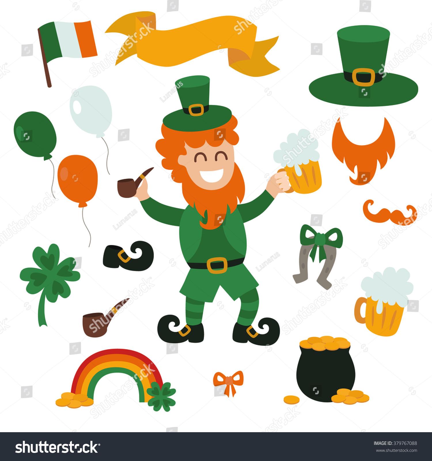 st patricks day character cartoon set stock vector 379767088