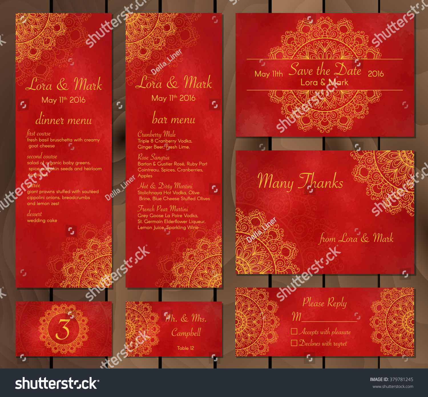 Collection Ethnic Cardsmenu Wedding Invitations Indian Stock Vector ...