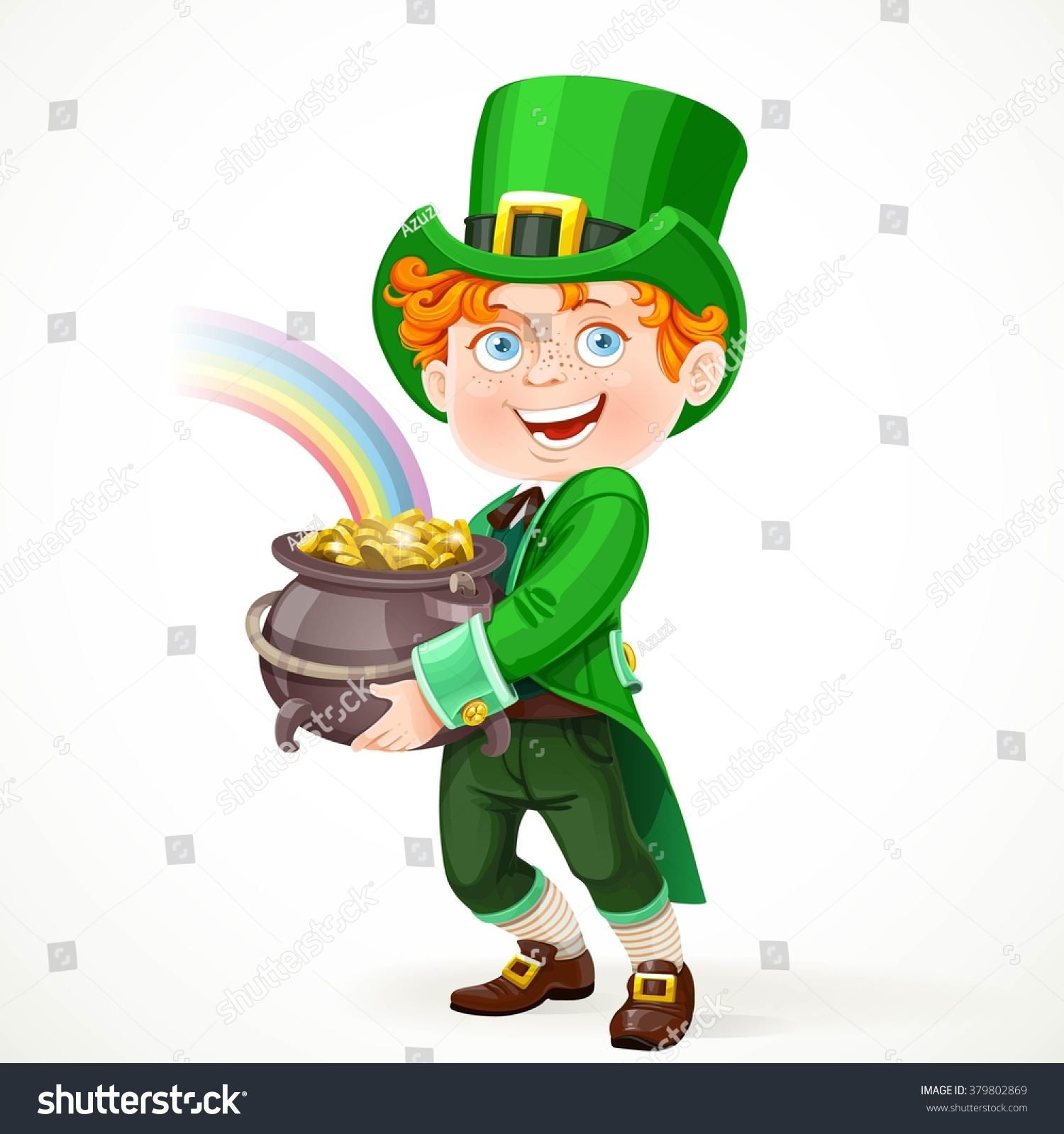 cute boy leprechaun suit pot full stock vector 379802869