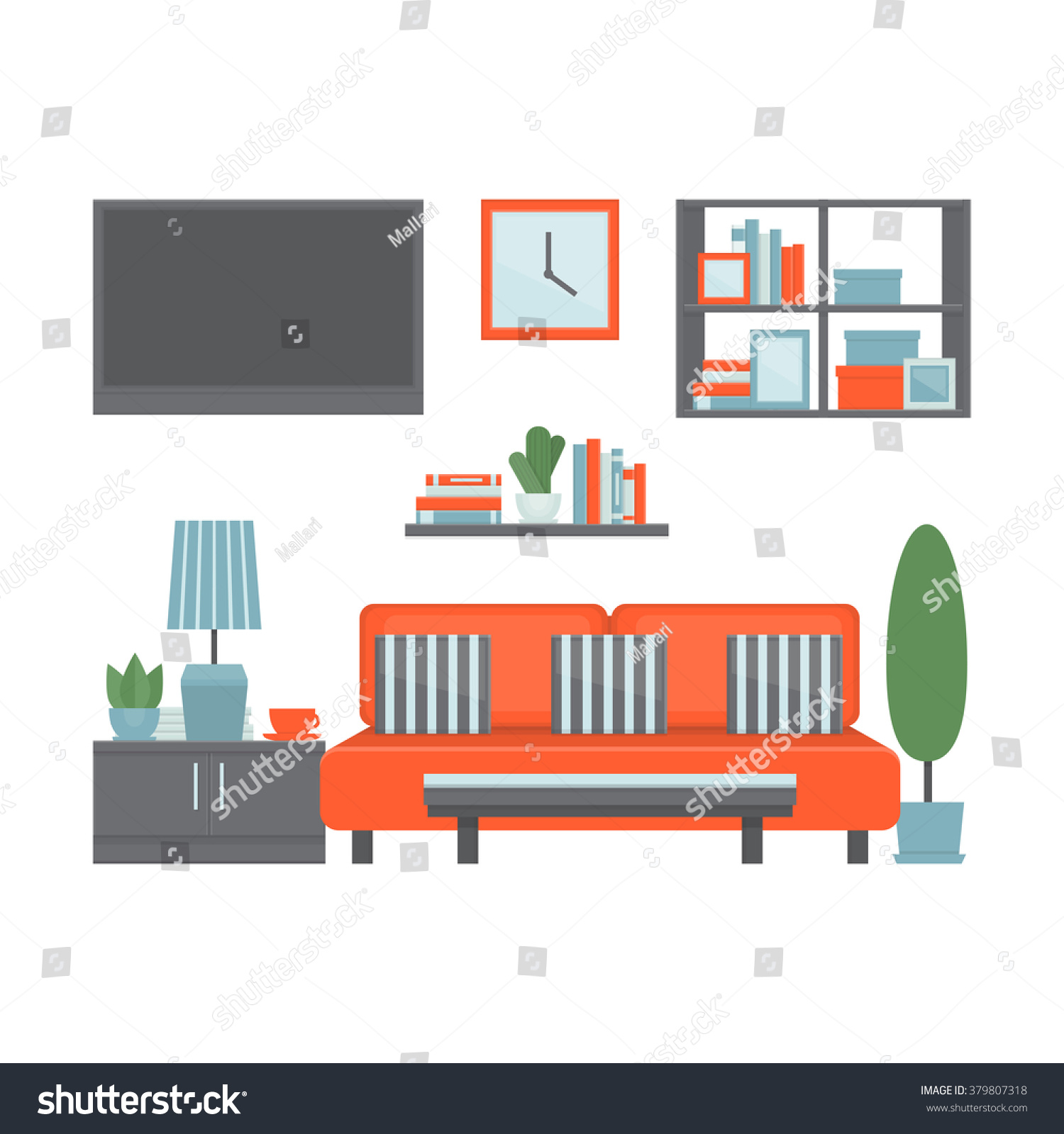 Living Room Modern Interior Furniture Equipment Stock Vector ...