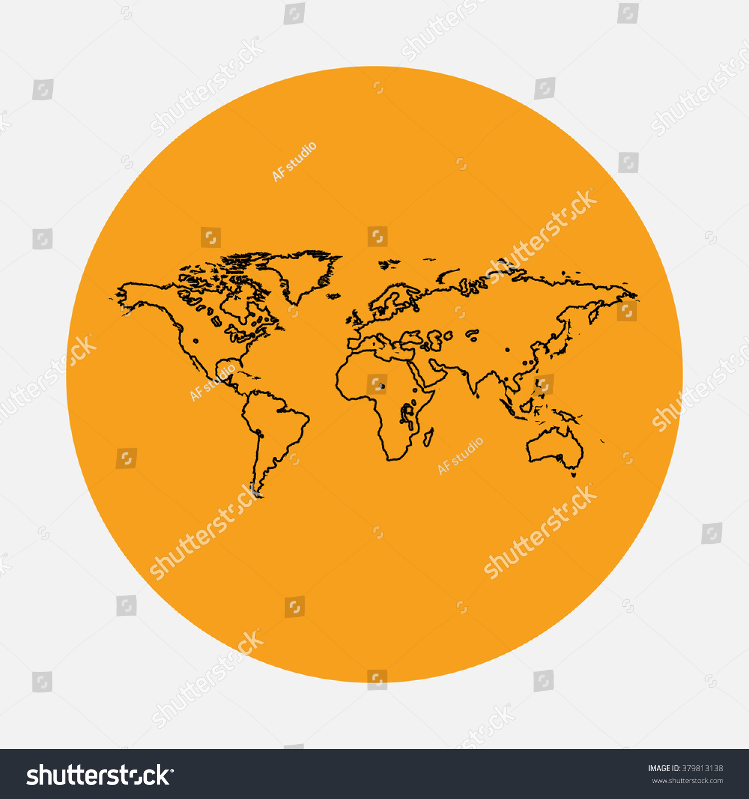 World map outline vector icon on vectores en stock 379813138 world map outline vector icon on orange circle flat line symbol pictogram gumiabroncs Gallery