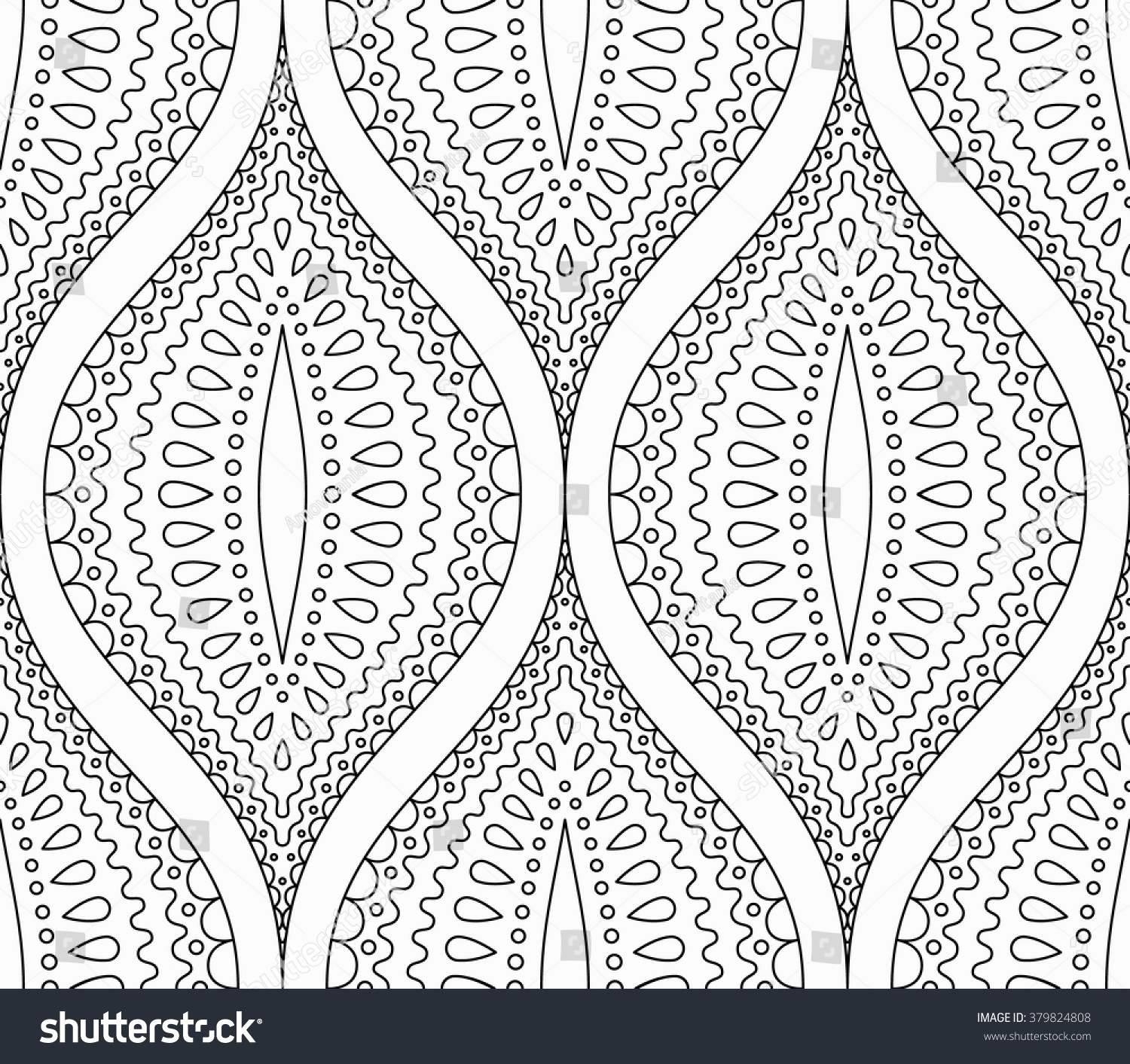 intricate black white pattern line design stock vector 379824808