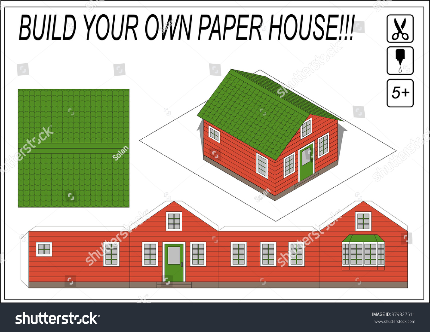Paper model house template paper model stock vector for Make own house