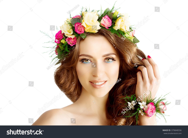 Spring woman young girl flowers beautiful stock photo royalty free spring woman young girl flowers beautiful model wreath bracelet bride bridesmaid makeup spa lady make up izmirmasajfo