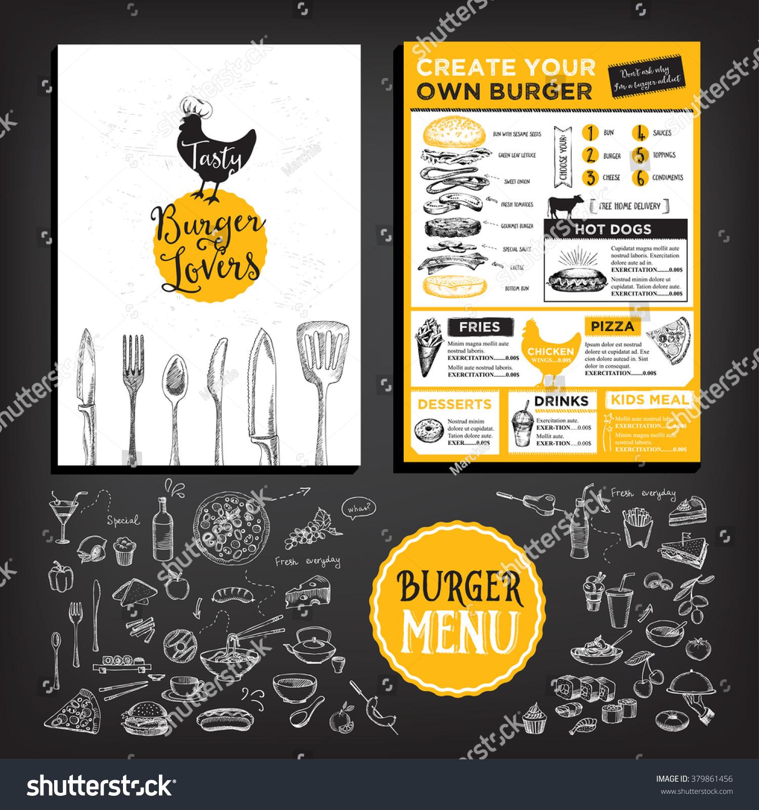 Restaurant brochure vector menu design vector stock vector for Cafe brochure design