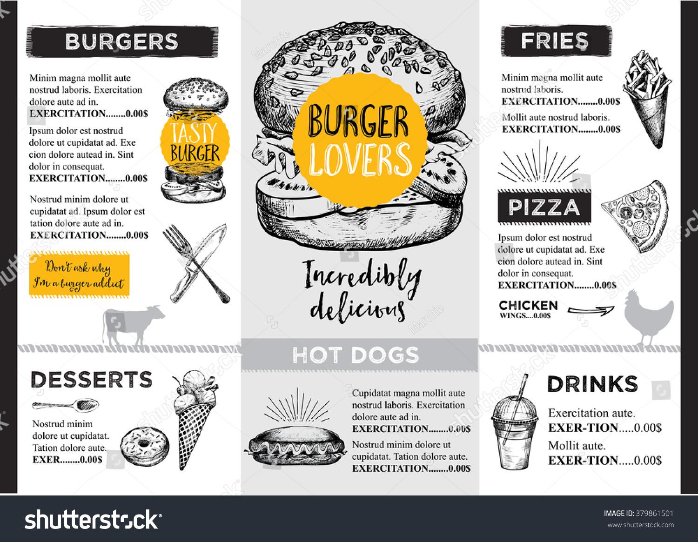 Restaurant brochure vector menu design stock