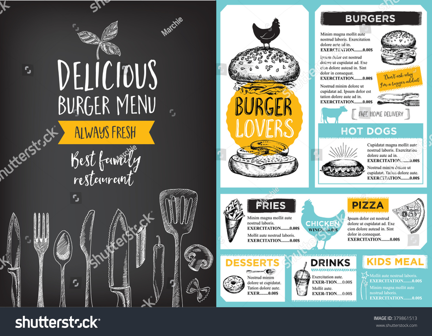 Restaurant brochure vector menu design cafe