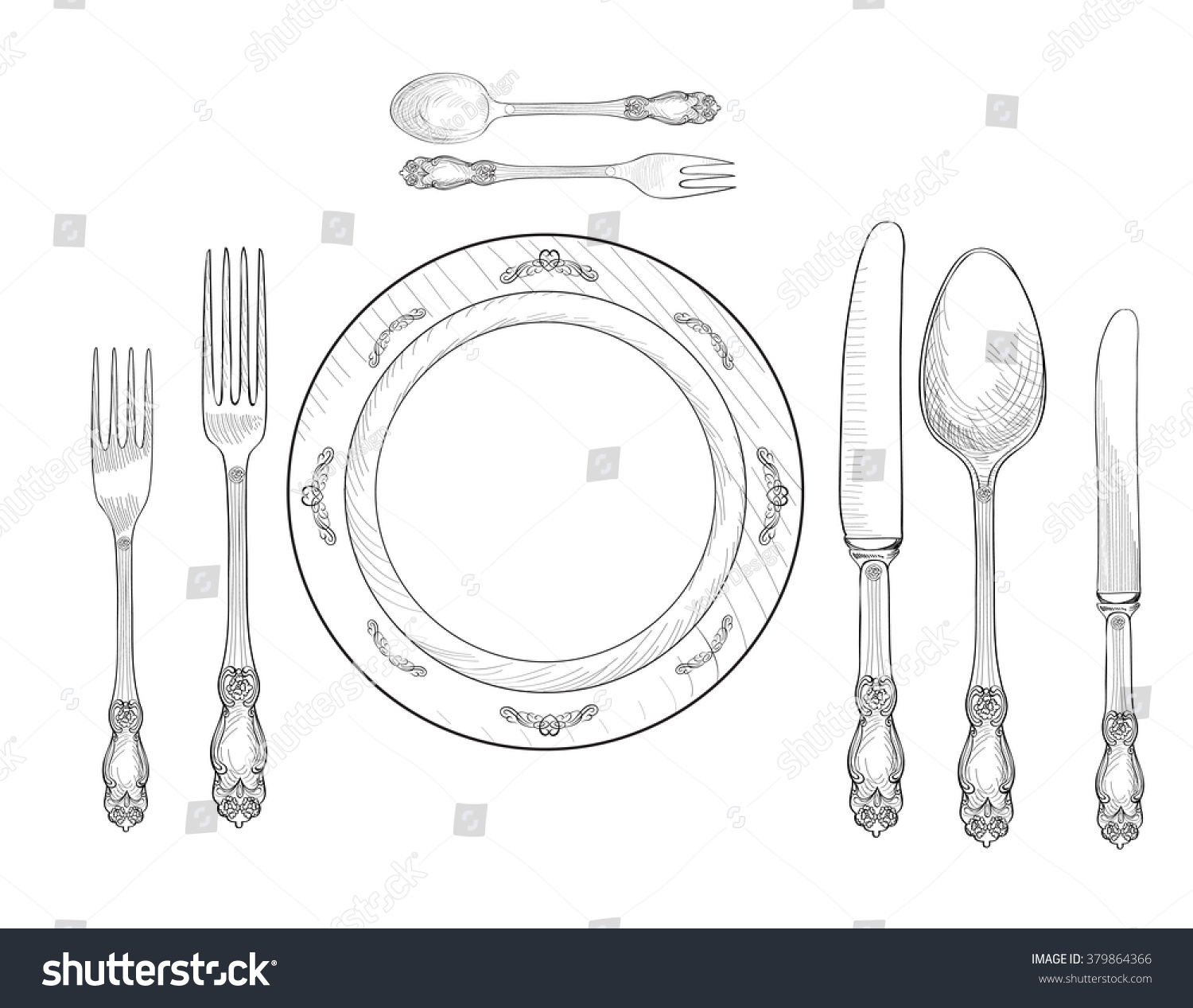 royalty free table setting set fork knife spoon 379864366