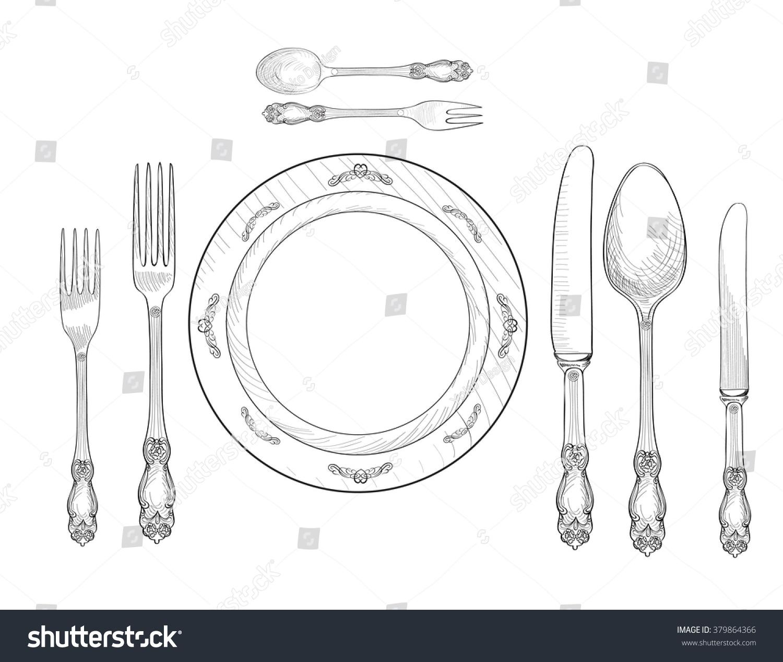 Table Setting Set Fork Knife Spoon Stock Vector 379864366