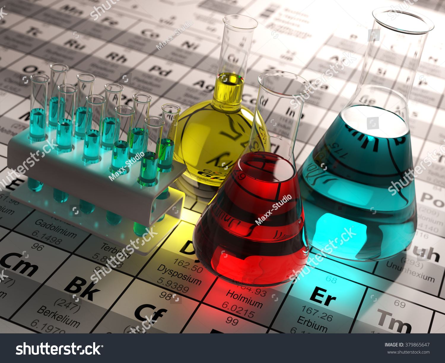Laboratory test tubes flasks colored liquids stock illustration laboratory test tubes and flasks with colored liquids on the periodic table of elements science gamestrikefo Choice Image