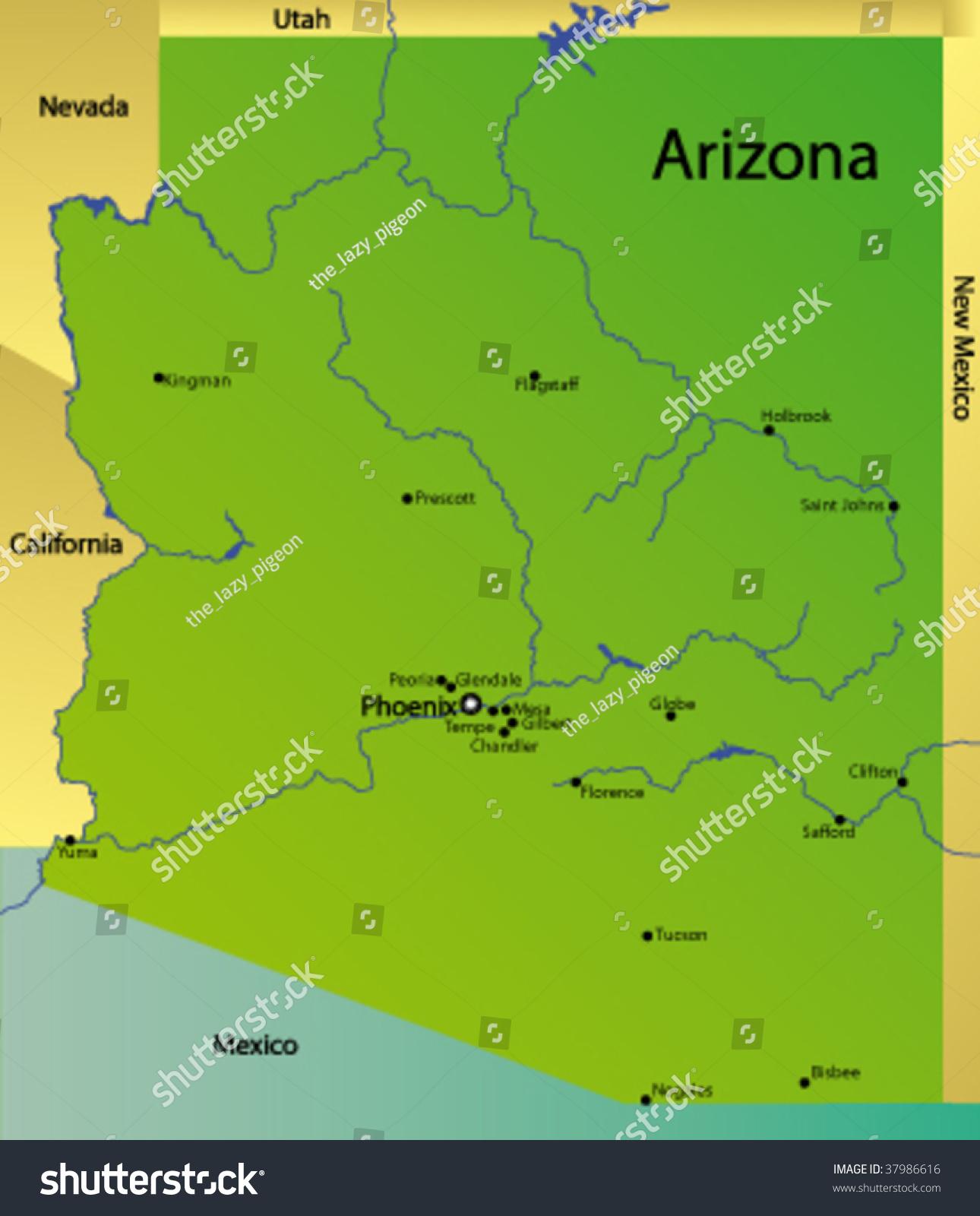 Detailed Vector Map Arizona State Usa Stock Vector - Arizona map usa
