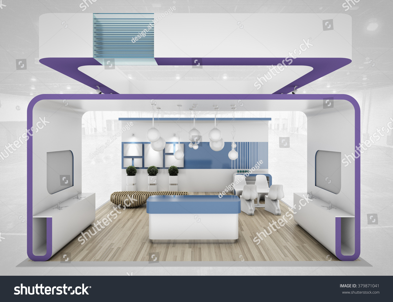 D Rendering Exhibition : Violet exhibition stand d rendering stock illustration