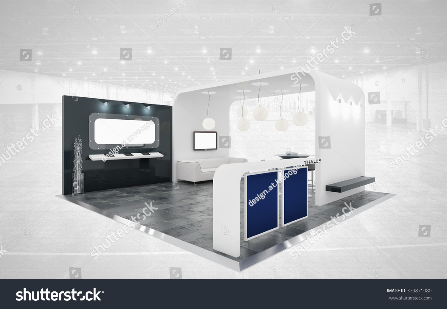 D Rendering Exhibition : Black and white exhibition stand d rendering stock photo