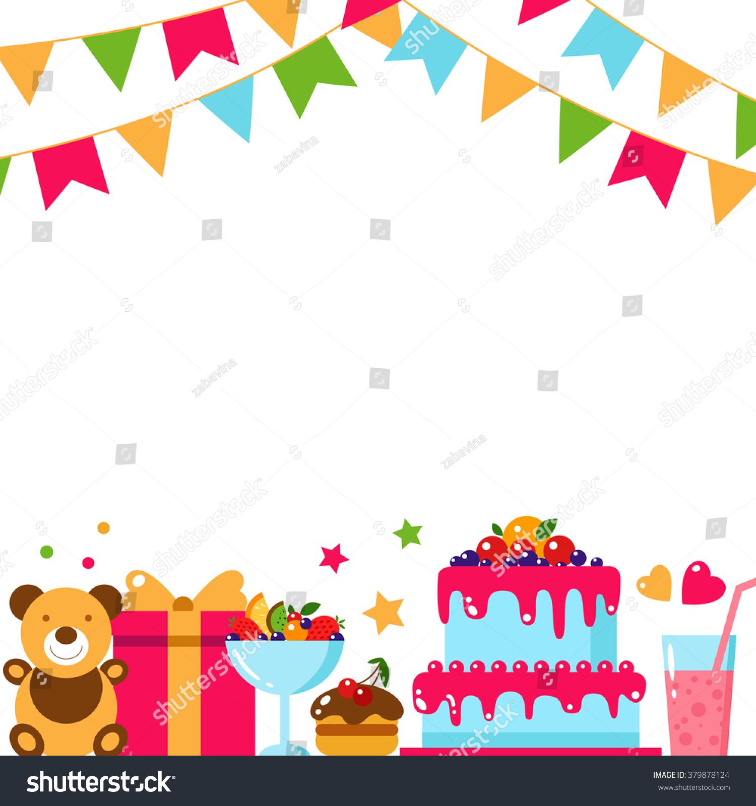 happy birthday template card flat vector stock vector royalty free