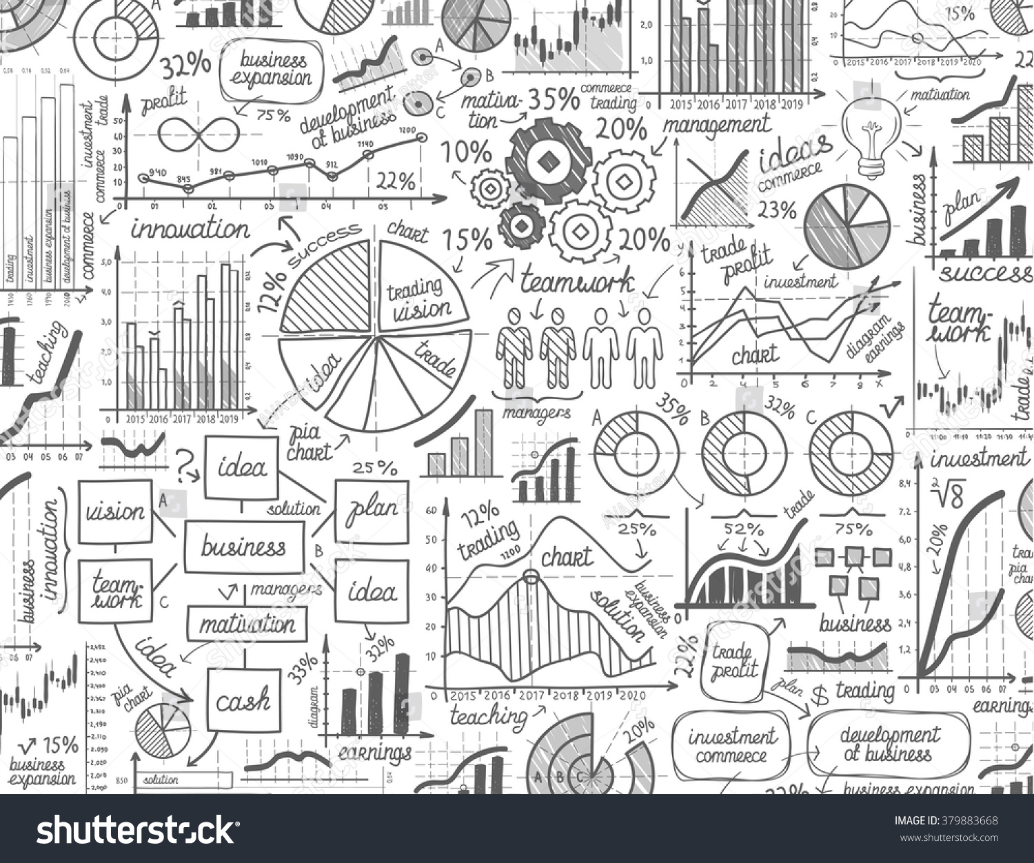 Vector hand drawn business infographics sketch em vetor stock vector hand drawn business infographics sketch or set chart graph diagram doodle ccuart Images