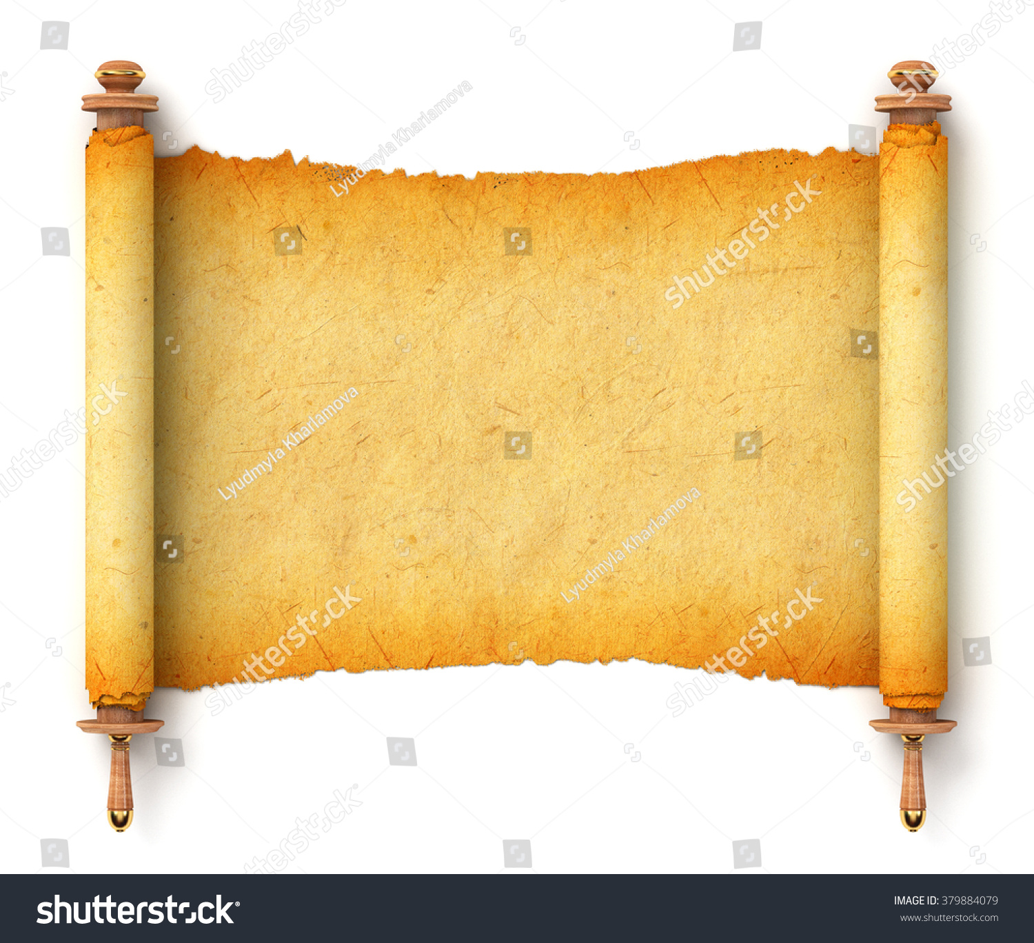 Ancient Scroll: Ancient Empty Scroll. Torah Unfurled With Wooden Handles
