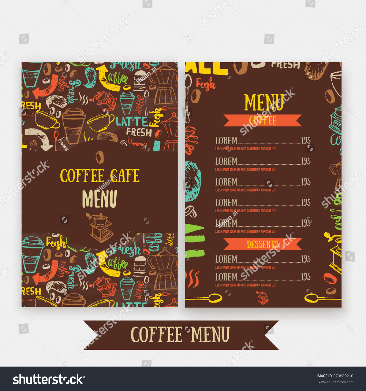cafe menu template design lettering coffee stock vector 379889290
