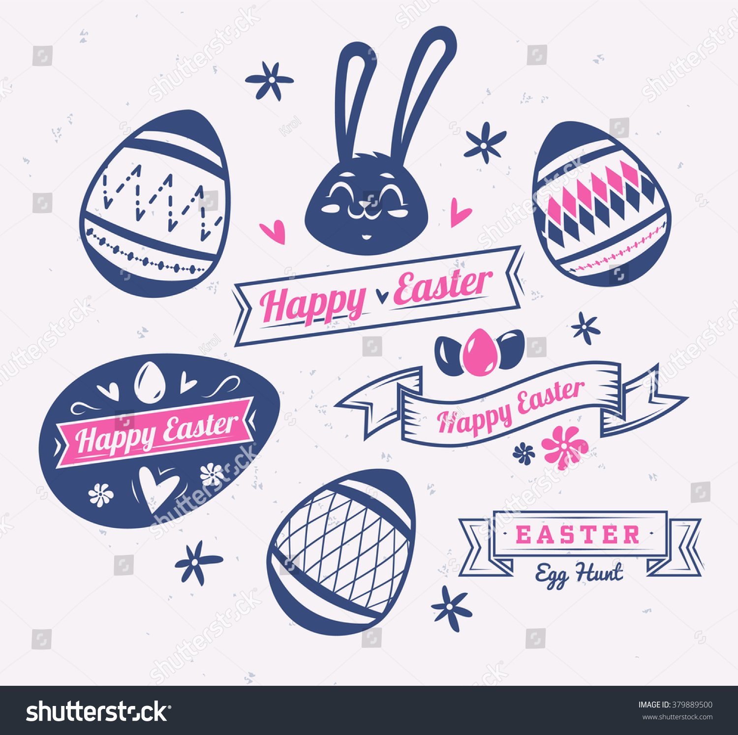 Happy easter greeting card bunny logos stock vector 379889500 happy easter greeting card with bunny logos labels and eggs vector cartoon illustration cute m4hsunfo