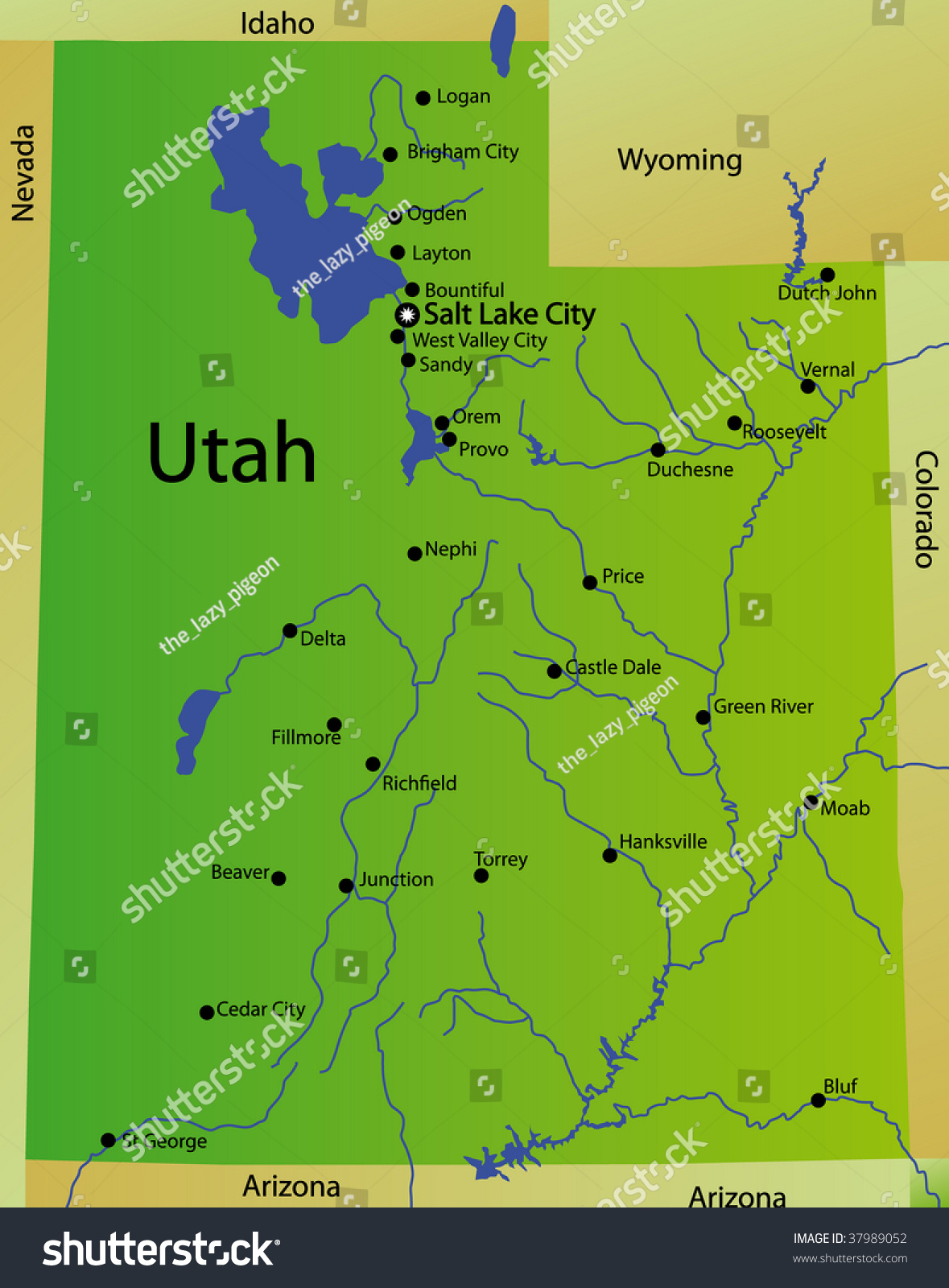 Utah State On USA Map Utah Flag And Map US States Royalty Free - Utah on the us map