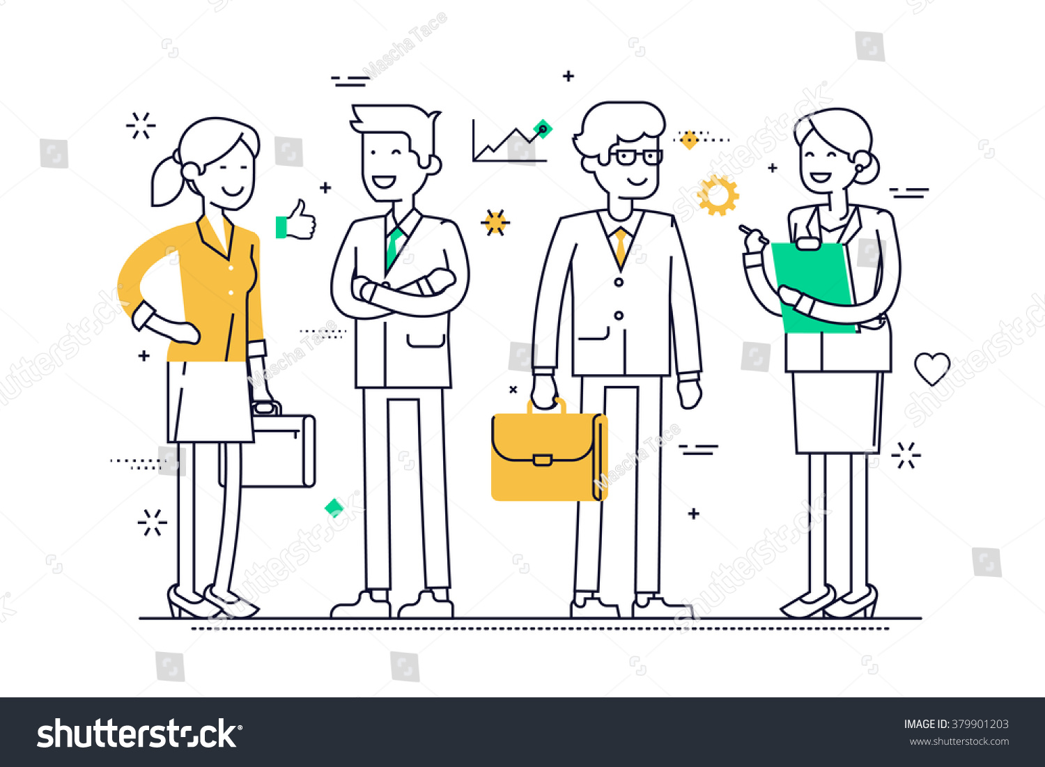 linear group office workers standing smiling stock vector