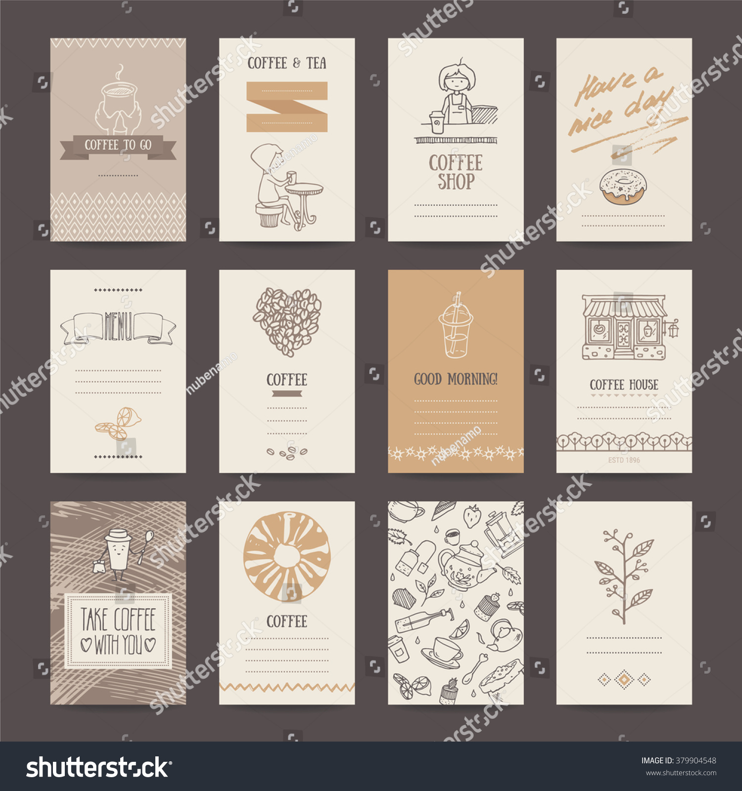 Coffee Shop Invitations Cafe Business Cards Stock Vector 379904548 ...