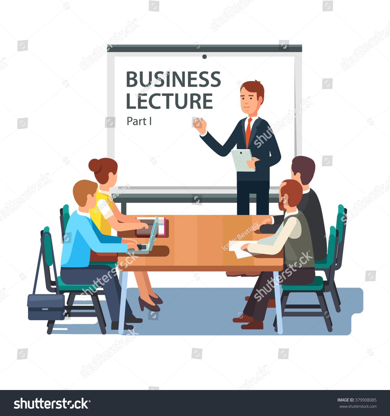 Modern Business Teacher Giving Lecture Presentation Stock Vector ...