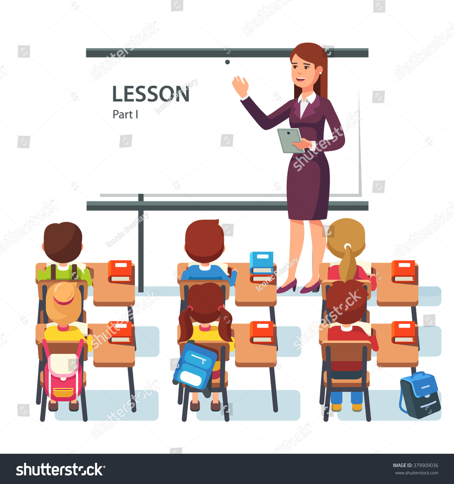 Modern Classroom Lesson Indicators : Modern school lesson little students and teacher classroom with whiteboard pupils tables