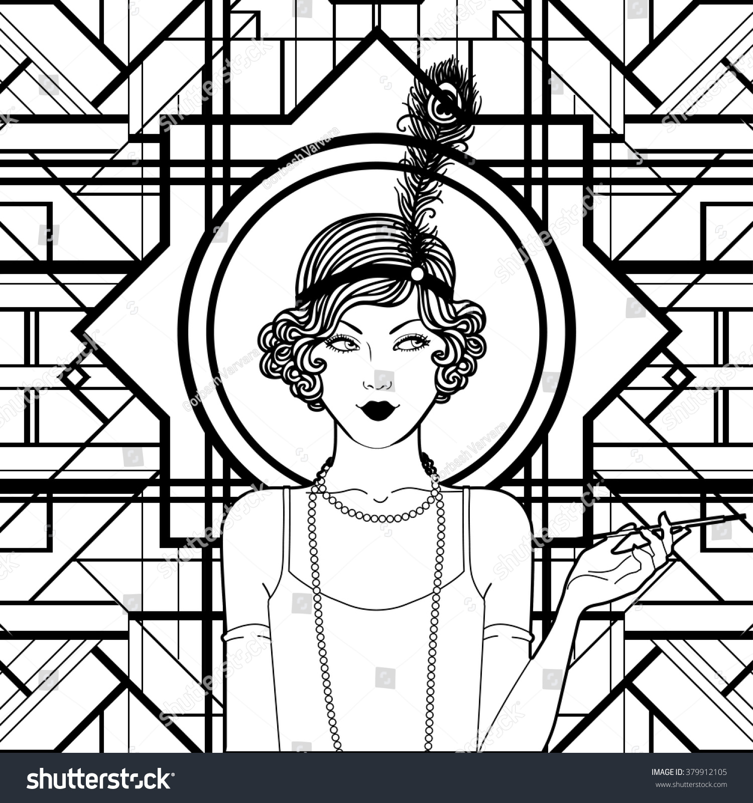 Coloring book outlines - Retro Coloring Book For Kids And Adults Retro Women Of Twenties Vector Illustration