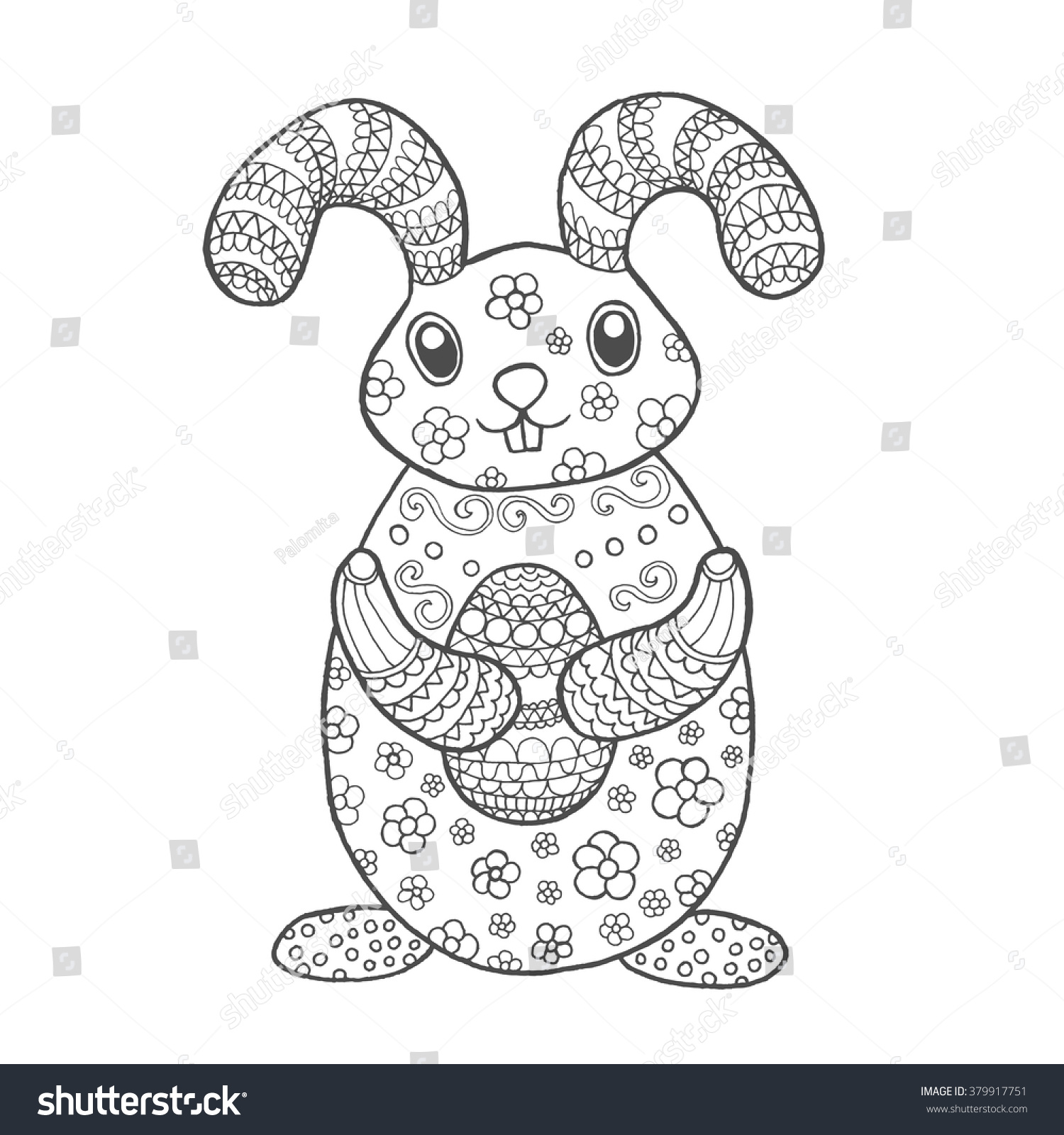 cute easter bunny black white hand stock vector 379917751